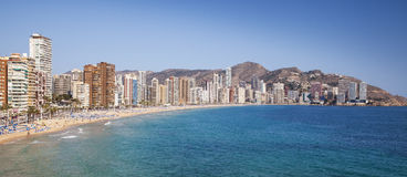 Playa de Levante, Benidorm city with blue sky, water and beach. Stock Photography