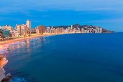Playa de Levante del playa de Alicante de la puesta del sol de Benidorm Foto de archivo libre de regalías