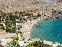 Playa de Lindos en la isla de Rodas fotos de archivo libres de regalías
