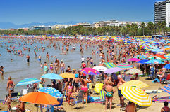 Playa de Llevant, en Salou, España Foto de archivo libre de regalías