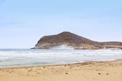 风帆冲浪在Playa de los Genoveses,圣何塞 免版税库存图片