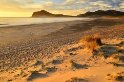 Natural beach at sunrise Almeria Spain stock photos