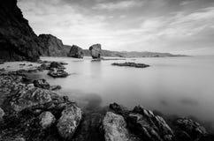 Playa de Los Muertos i svartvitt Arkivfoto