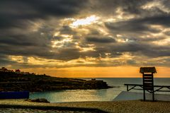 Playa de Lourenco del sao en el pueblo de Ericeira, Portugal Imágenes de archivo libres de regalías