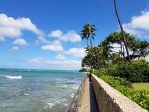 Playa de Makalei con traslapar de las ondas, napakaa, la pared de la roca de la lava y los árboles de coco a lo largo de la orill foto de archivo