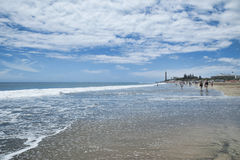 Playa de Maspalomas, Gran Canaria, Spain - May 6, 2017. The most popular beach on the island, for different tourist profiles: family friendly, nudist zones Stock Photo