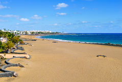 Playa de Matagorda beach in Lanzarote, Spain Stock Images