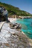 Playa de Mylopotamos Imágenes de archivo libres de regalías