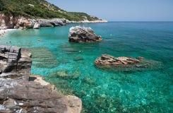 Playa de Mylopotamos (horizontal Fotografía de archivo