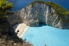 Playa de Navagio del naufragio Imagen de archivo libre de regalías