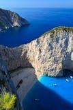 Playa de Navagio en Zakynthos, Grecia Imagen de archivo libre de regalías