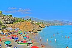 Playa De Nerja-Andalousie-Espagne Images libres de droits