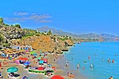 Playa de Nerja-Andalusia-Spain. Incredible abstract panoramic view on Playa De Nerja-Andalusia-Spain Royalty Free Stock Images