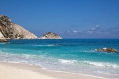 Playa de oro XI en la isla del kefalonia en Grecia Fotografía de archivo libre de regalías