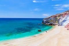 Playa de Paliochori, Milos isla, Cícladas, egeas, Grecia imagen de archivo libre de regalías