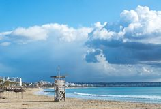 Playa de Palma winter beach. On a sunny day in December in Mallorca, Balearic islands, Spain Stock Images