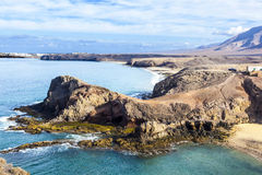 Playa de Papagayo (παραλία του παπαγάλου) σε Lanzarote, Κανάρια νησιά, Στοκ Φωτογραφία