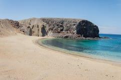 Playa de Papagayo av Lanzarote, kanariefågelöar Fotografering för Bildbyråer
