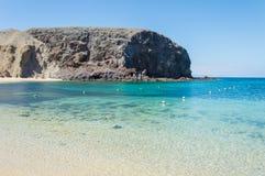 Playa de Papagayo de Lanzarote, Ilhas Canárias Fotografia de Stock Royalty Free