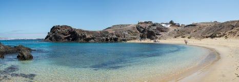 Playa de Papagayo de Lanzarote, Ilhas Canárias Fotos de Stock Royalty Free