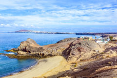 Playa de Papagayo Lanzarote, Κανάρια νησιά Στοκ Εικόνα