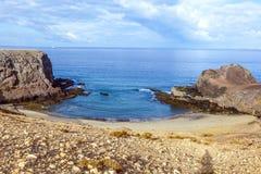 Playa de Papagayo Lanzarote, Κανάρια νησιά Στοκ Εικόνες