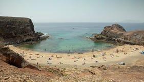 Playa de Papagayo, Lanzarote. View at bay of Papagayo beach, Playa de Papagayo, Lanzarote royalty free stock photography