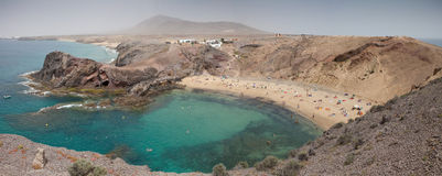 Playa de Papagayo, Lanzarote. Panoramic view at bay of Papagayo beach, Playa de Papagayo, Lanzarote royalty free stock images