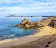 Playa de Papagayo på Lanzarote, kanariefågelöar, Spanien Arkivfoto