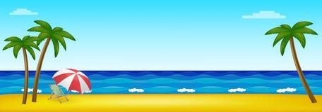 Playa de Paradise en el medio del océano con las palmeras stock de ilustración