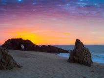 Playa de piedra agujereada Imagen de archivo libre de regalías