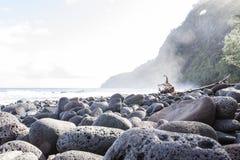 Playa de piedra negra hermosa - valle del waipio, Hawaii Fotos de archivo libres de regalías