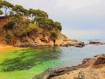Playa de Platja d Aro, Costa Brava, España imagenes de archivo