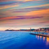 Playa de Poniente del playa de la puesta del sol de Benidorm Alicante Fotografía de archivo libre de regalías
