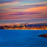 Playa de Poniente del playa de la puesta del sol de Benidorm Alicante Imágenes de archivo libres de regalías