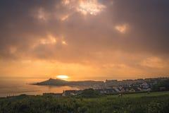 Playa de Porthgwidden en St Ives en el amanecer Imagen de archivo libre de regalías