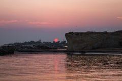 Playa de Punta Cirica en la puesta del sol foto de archivo