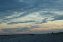 Playa 3 de Robert Moses de la puesta del sol Fotografía de archivo
