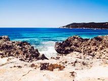 Playa de salinas, Ibiza, España Foto de archivo