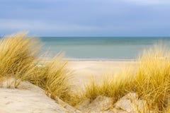 Playa de Sandy con la paja Imagenes de archivo
