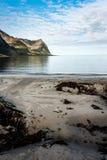 Playa de Sandy en el fiordo imágenes de archivo libres de regalías