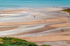 Playa de Sandy, mar, gente, Foto de archivo