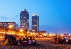 Playa de Somorrostro en Barcelona, España fotos de archivo libres de regalías