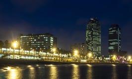 Playa de Somorrostro en noche de verano Barcelona Imágenes de archivo libres de regalías