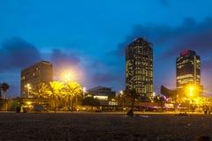 Playa de Somorrostro en noche de verano Barcelona Fotos de archivo