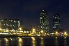 Playa de Somorrostro en noche de verano Barcelona, Fotografía de archivo libre de regalías