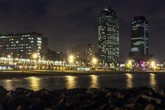 Playa de Somorrostro en noche de verano Barcelona, España Foto de archivo libre de regalías