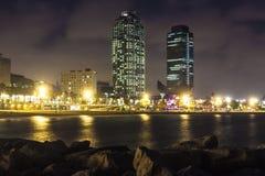 Playa de Somorrostro en noche de verano Barcelona, España Imágenes de archivo libres de regalías