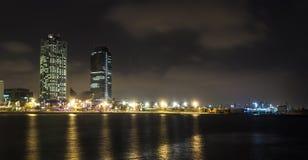 Playa de Somorrostro en noche de verano Barcelona, España Fotos de archivo libres de regalías