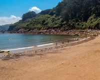 Beach in Asturias. The Playa de Tazones is located in the heart of the famous fishing port of Tazones, 10 km from Villaviciosa, in the Principality of Asturias stock image